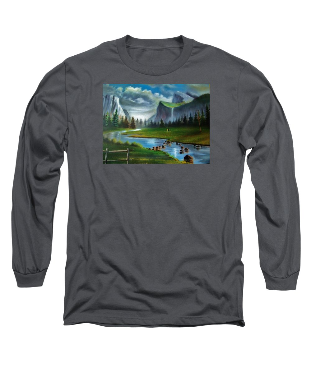 Landscape Long Sleeve T-Shirt featuring the painting Peaceful Retreat by Scott Easom