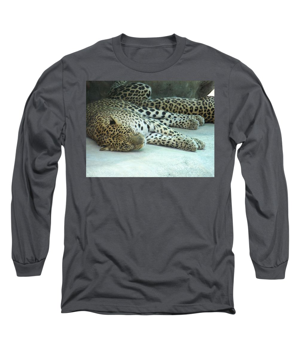 Chetah Long Sleeve T-Shirt featuring the photograph Peaceful Sleep by Laurie Paci