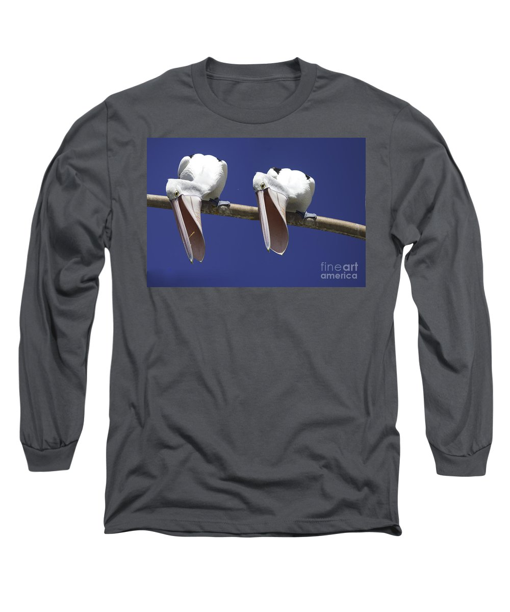 Pelican Long Sleeve T-Shirt featuring the photograph Pelican Burp by Avalon Fine Art Photography