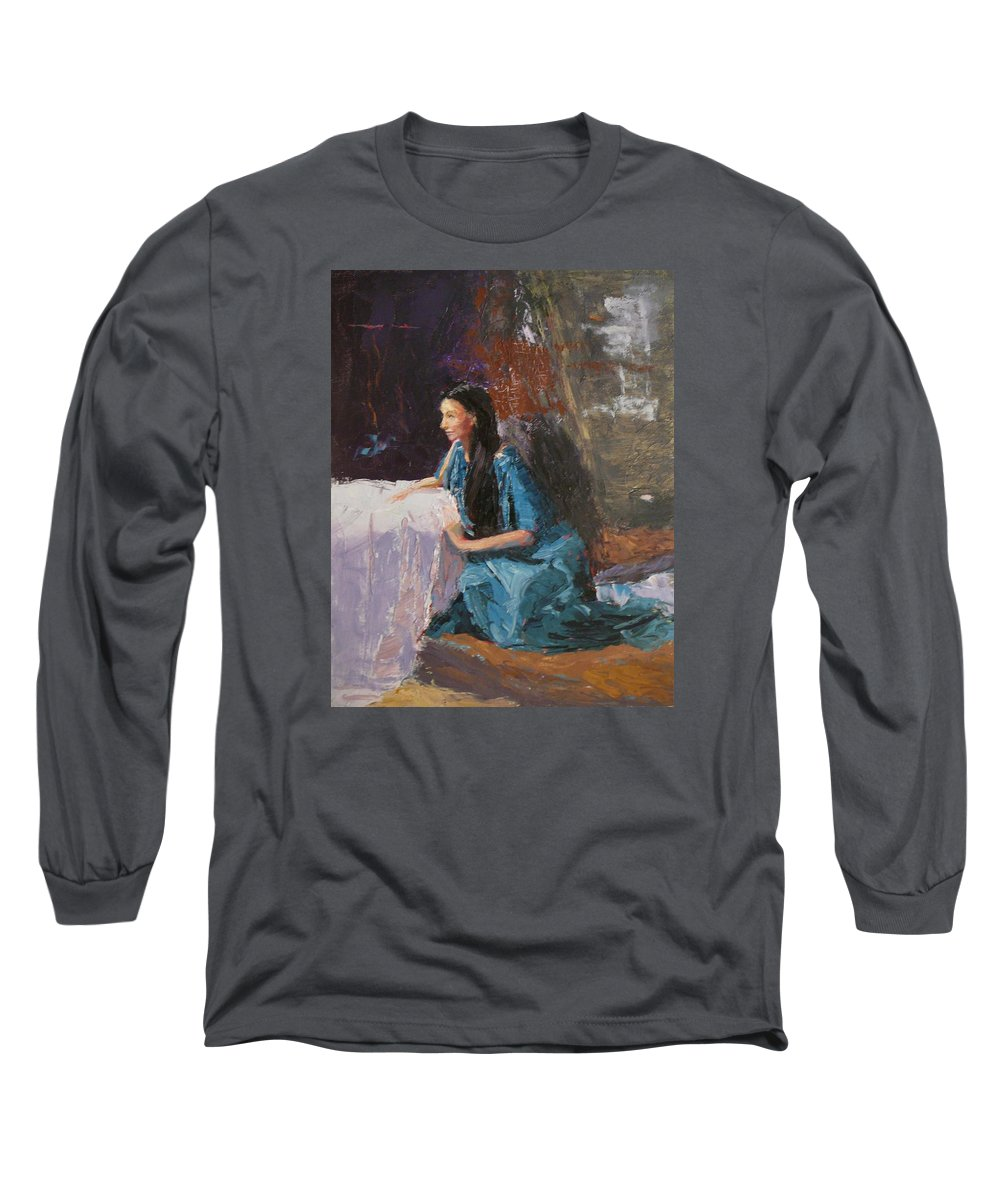 Sitting Woman Long Sleeve T-Shirt featuring the painting Penelope by Irena Jablonski