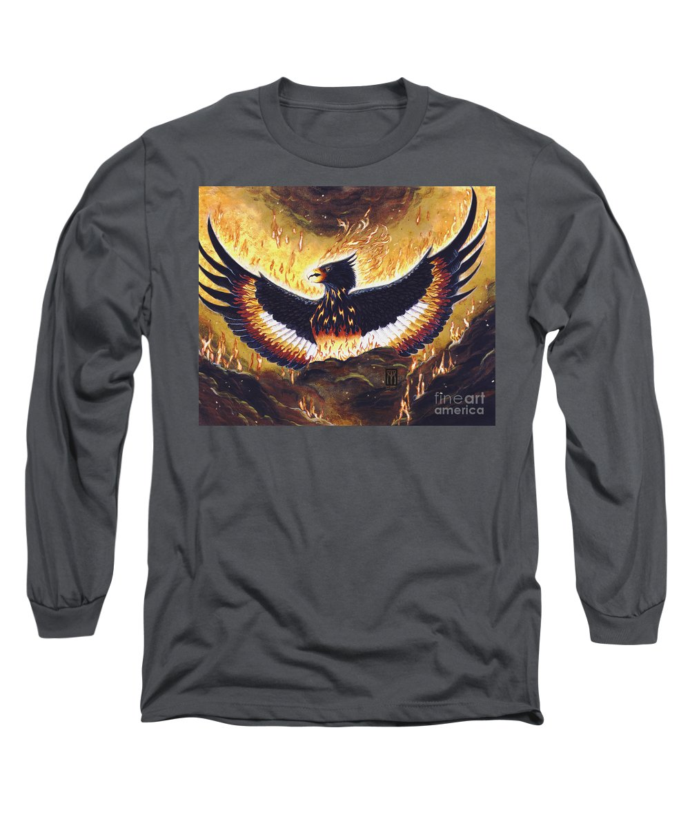 Phoenix Long Sleeve T-Shirt featuring the painting Phoenix Rising by Melissa A Benson