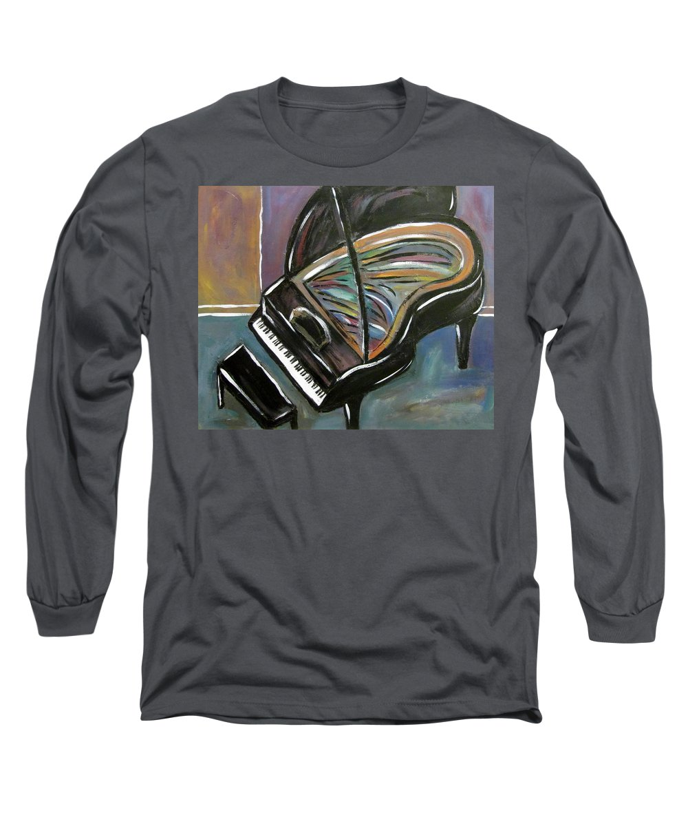 Impressionist Long Sleeve T-Shirt featuring the painting Piano With High Heel by Anita Burgermeister