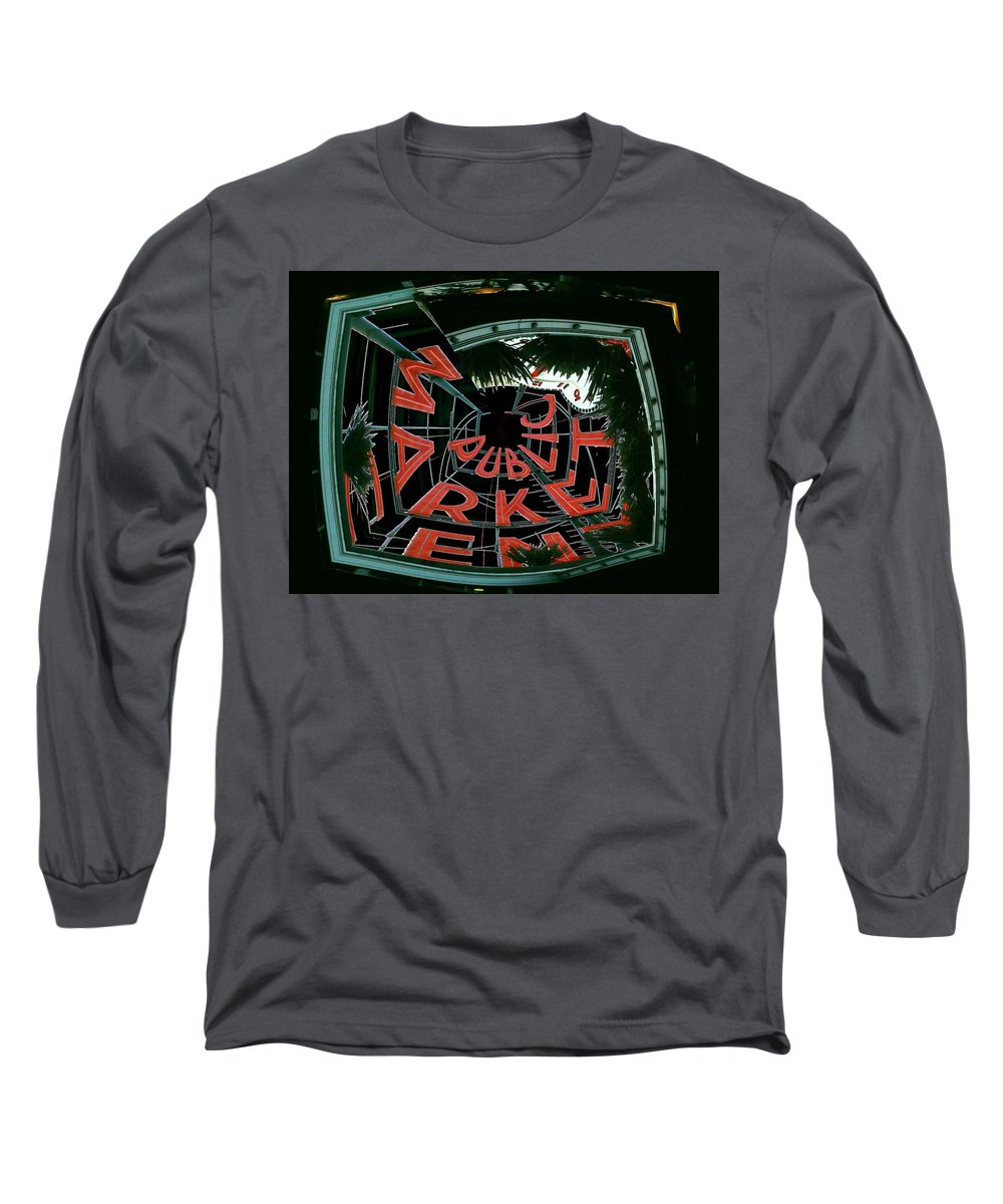 Seattle Long Sleeve T-Shirt featuring the digital art Pike Place Market Entrance 2 by Tim Allen