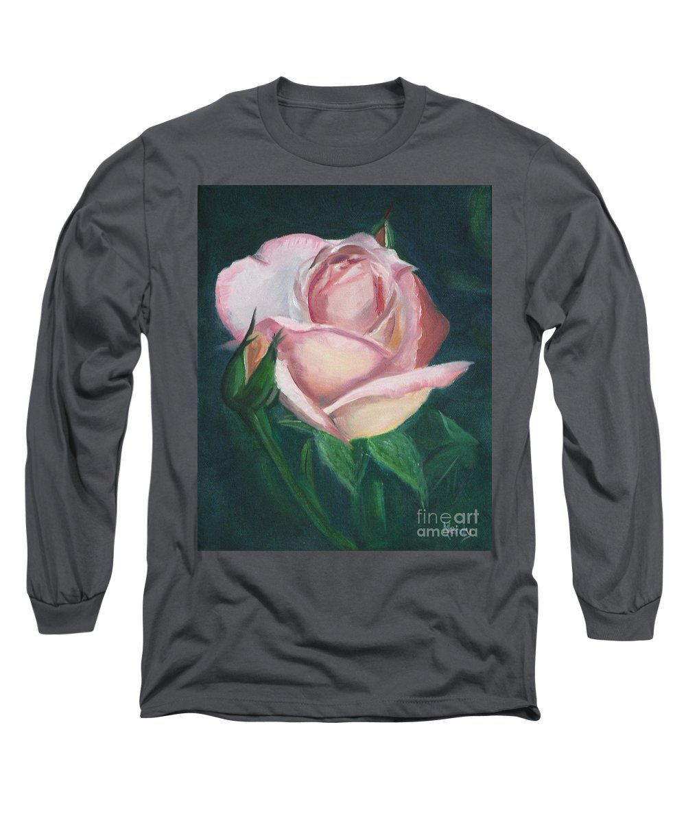 Rose Long Sleeve T-Shirt featuring the painting Pink Rose by Mendy Pedersen
