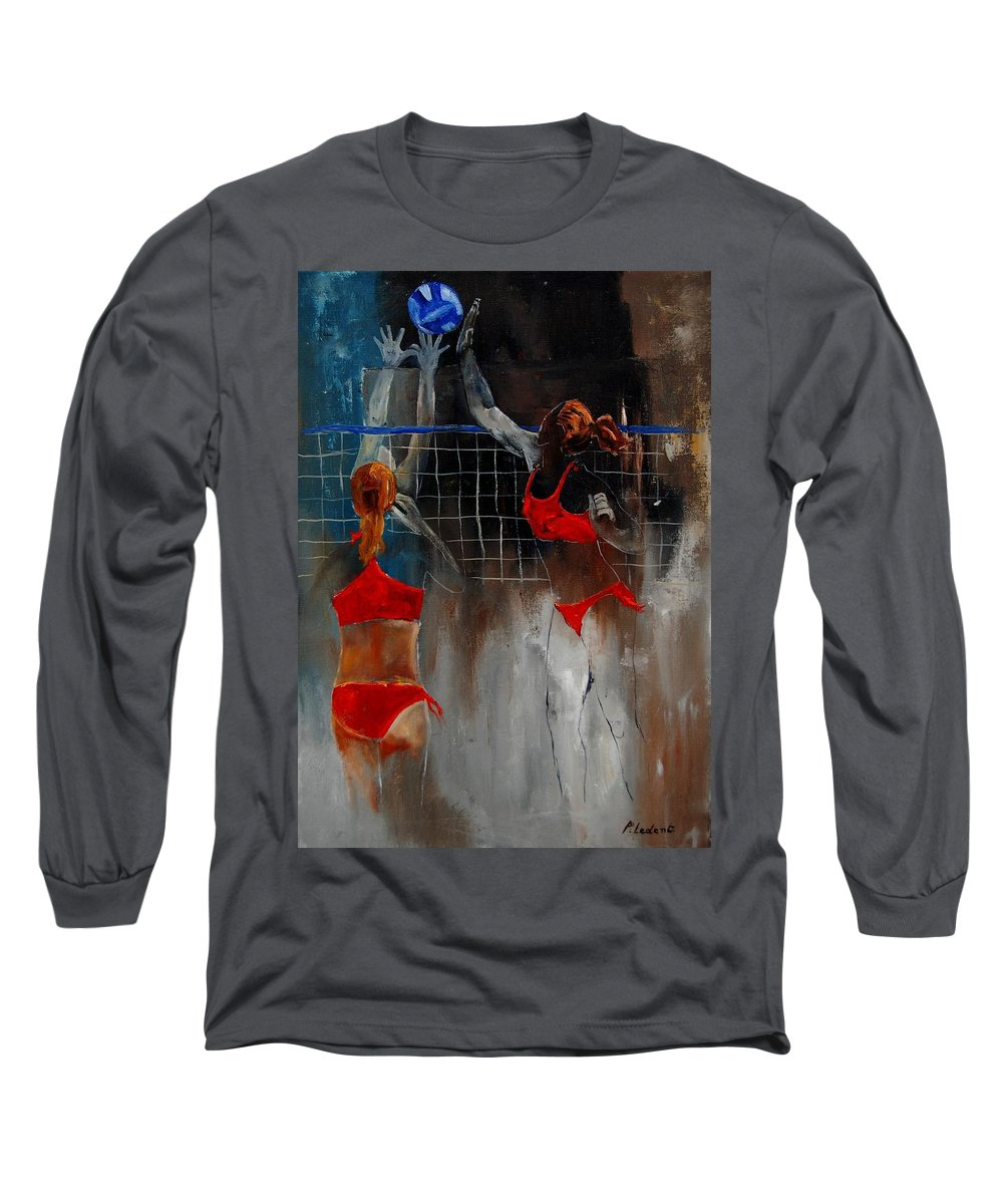Sport Long Sleeve T-Shirt featuring the painting Playing Volley by Pol Ledent