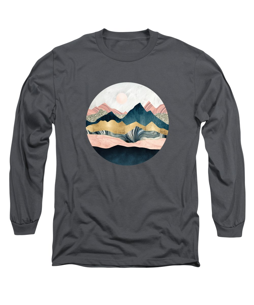 Mountains Long Sleeve T-Shirt featuring the digital art Plush Peaks by Spacefrog Designs