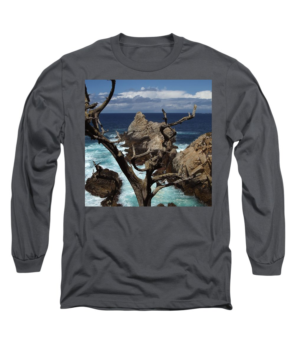 Carmel Long Sleeve T-Shirt featuring the photograph Point Lobos Rocks And Branches by Charlene Mitchell