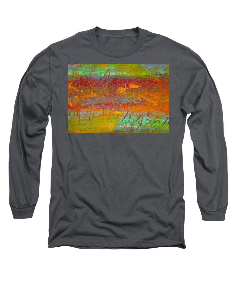 Abstract Long Sleeve T-Shirt featuring the painting Prelude To A Sigh by Wayne Potrafka