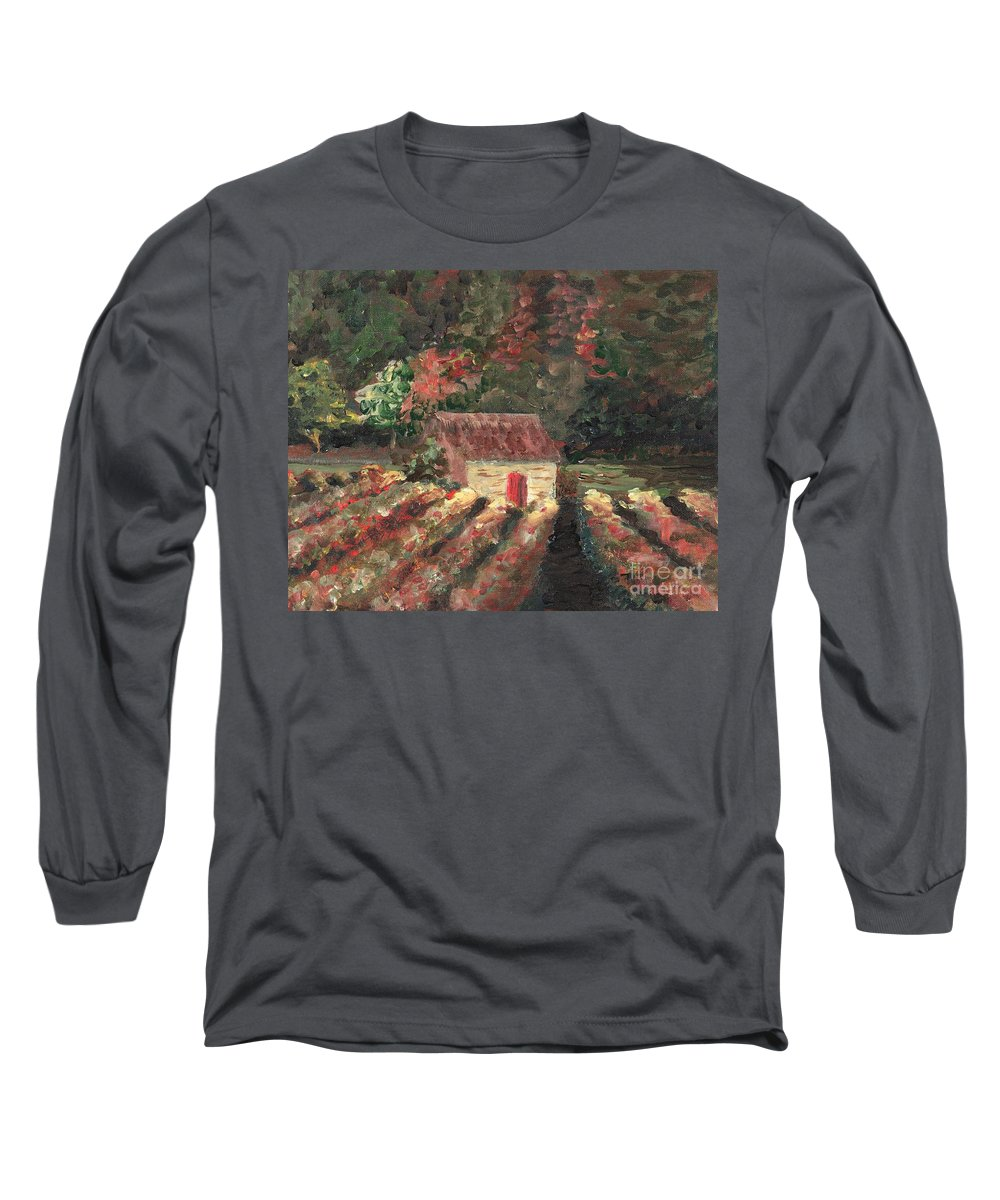 Landscape Long Sleeve T-Shirt featuring the painting Provence Vineyard by Nadine Rippelmeyer