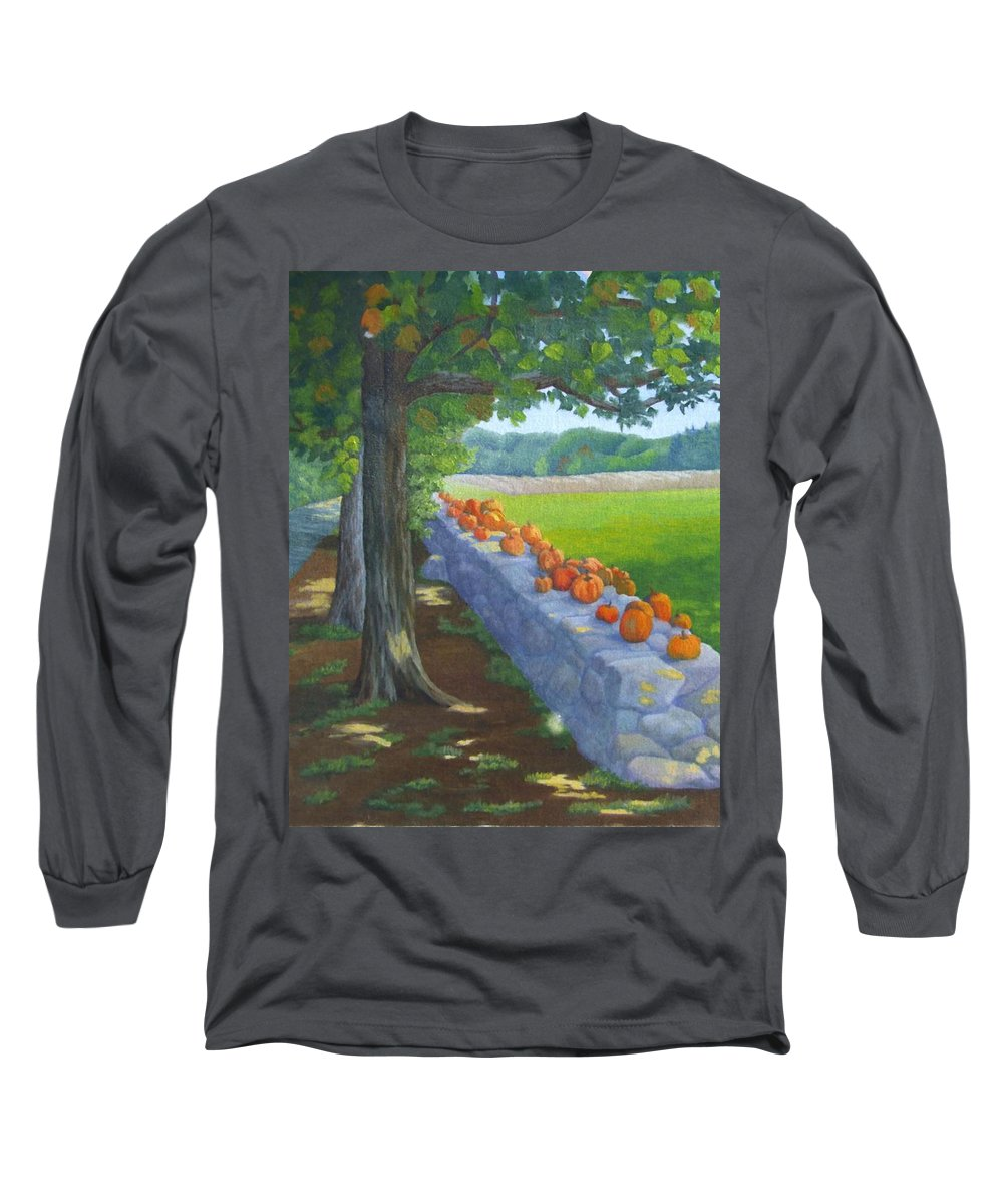 Pumpkins Long Sleeve T-Shirt featuring the painting Pumpkin Muster by Sharon E Allen