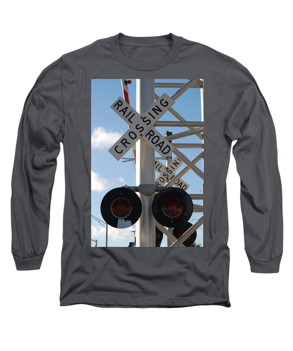 Train Long Sleeve T-Shirt featuring the photograph R X R Crossing by Rob Hans