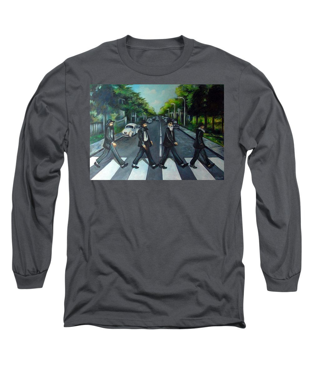 Surreal Long Sleeve T-Shirt featuring the painting Rabbi Road by Valerie Vescovi