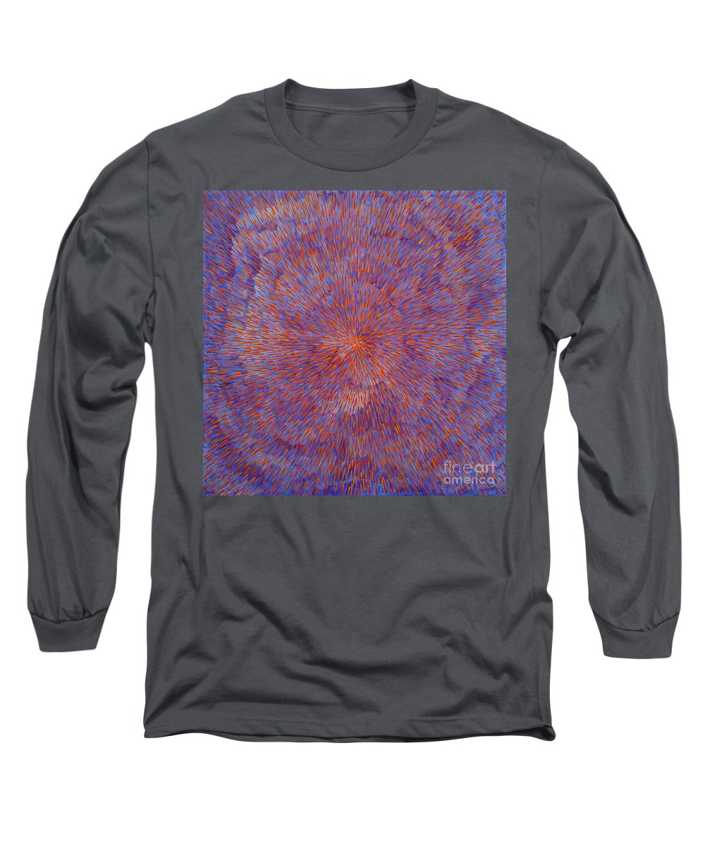 Abstract Long Sleeve T-Shirt featuring the painting Radiation With Blue And Red by Dean Triolo