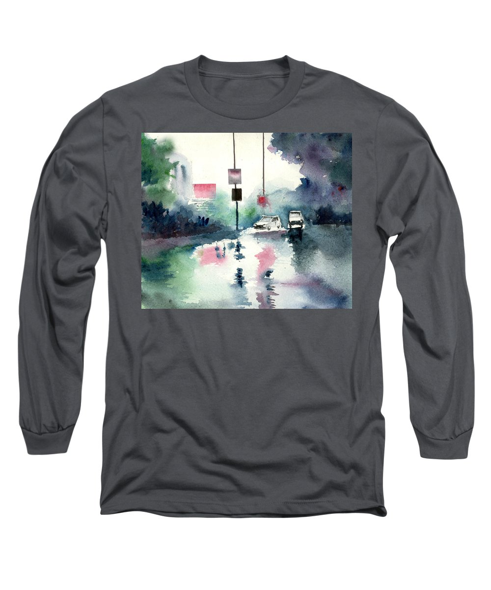 Nature Long Sleeve T-Shirt featuring the painting Rainy Day by Anil Nene