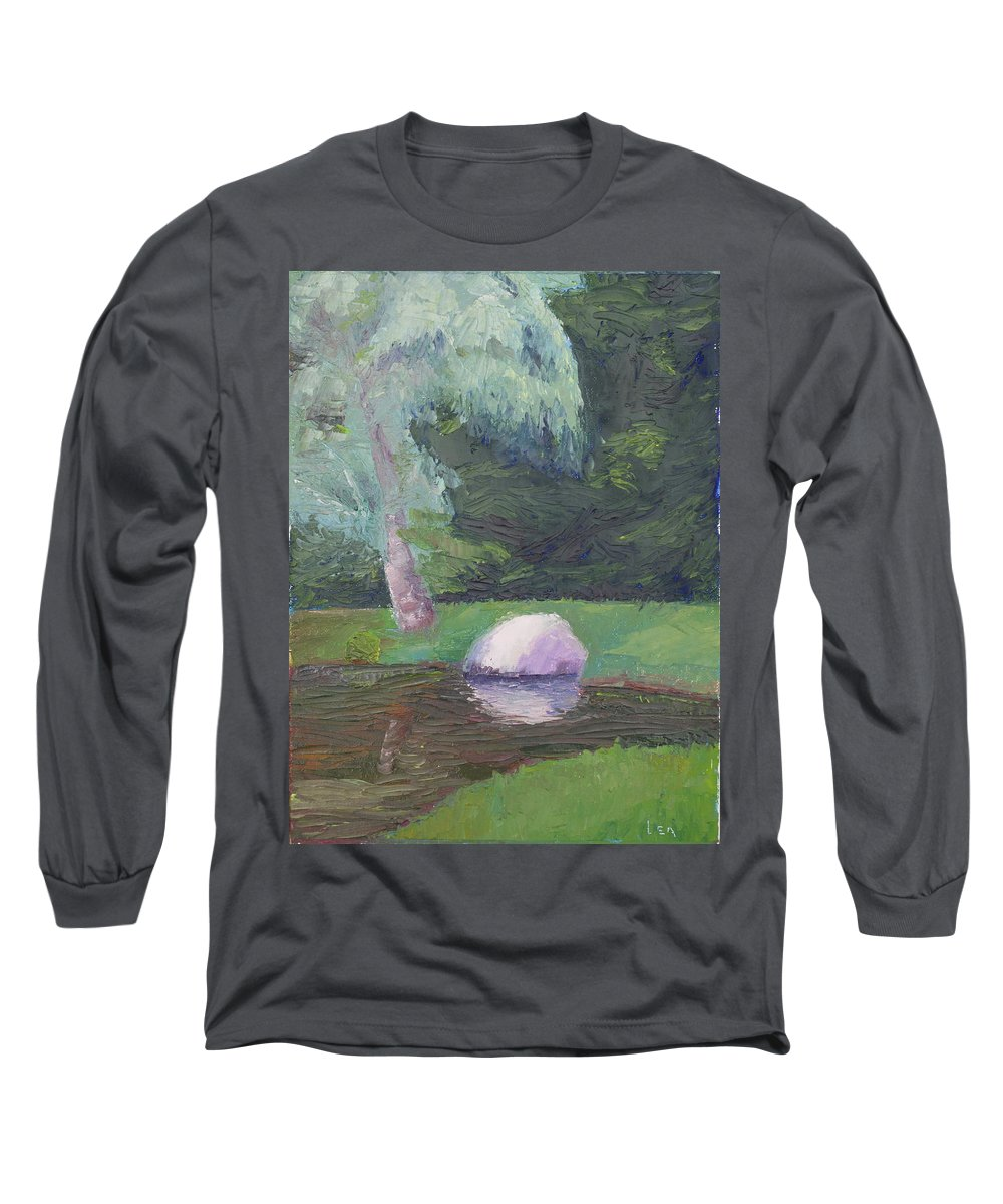 Landscape Painting Long Sleeve T-Shirt featuring the painting Rainy Day by Lea Novak