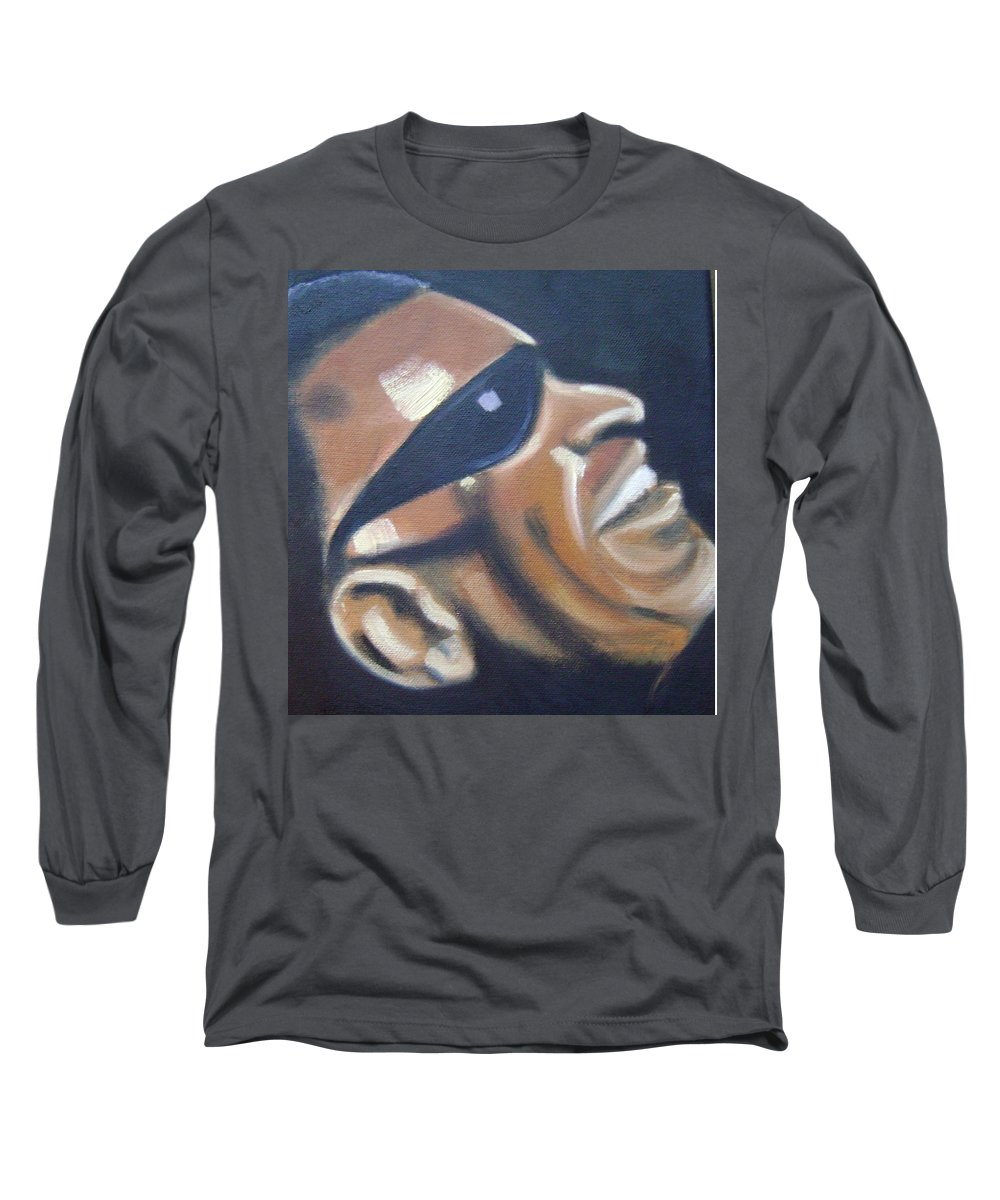 Ray Charles Long Sleeve T-Shirt featuring the painting Ray Charles by Toni Berry