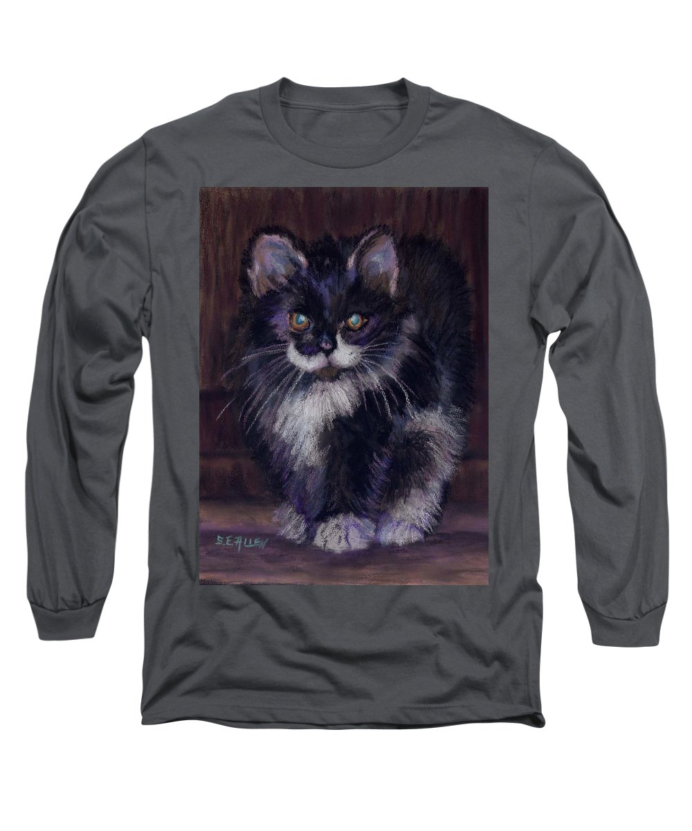 Kitten Long Sleeve T-Shirt featuring the painting Ready For Trouble by Sharon E Allen