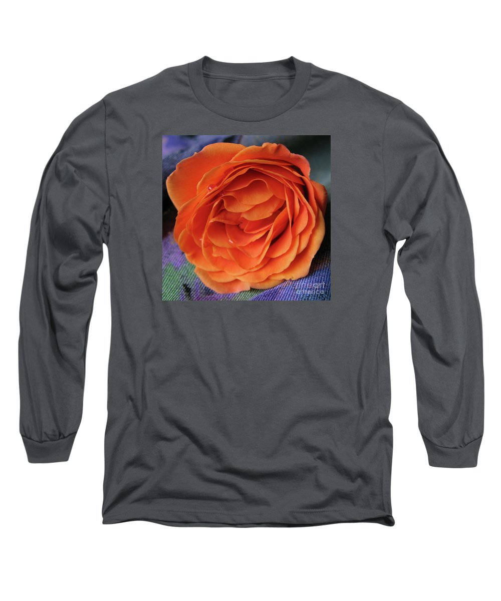 Rose Long Sleeve T-Shirt featuring the photograph Really Orange Rose by Ann Horn