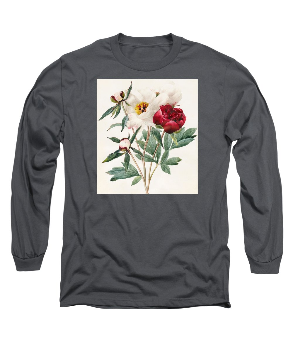 Watercolor Peony Drawings Long Sleeve T-Shirts