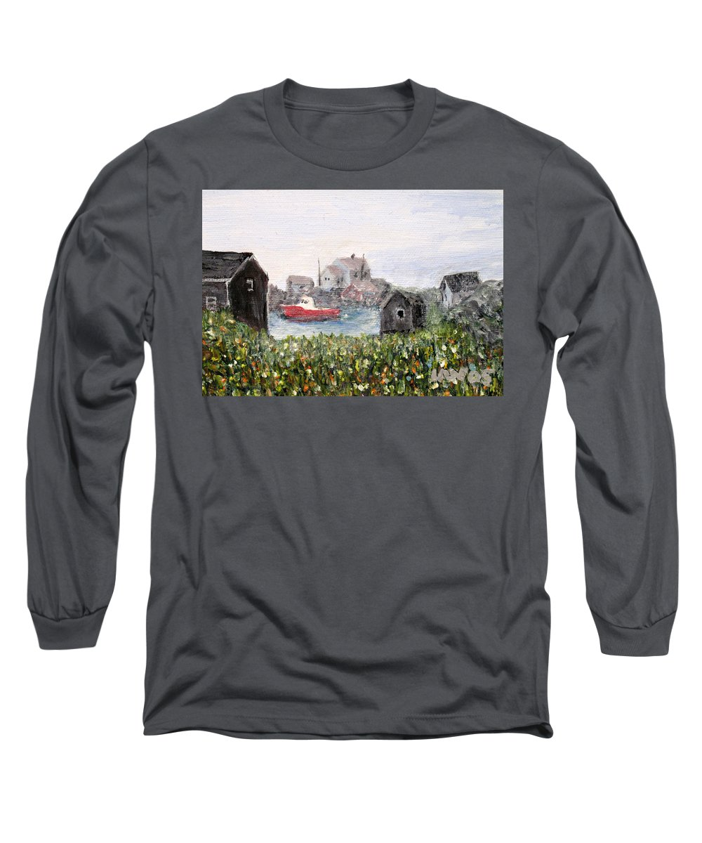 Red Boat Long Sleeve T-Shirt featuring the painting Red Boat In Peggys Cove Nova Scotia by Ian MacDonald