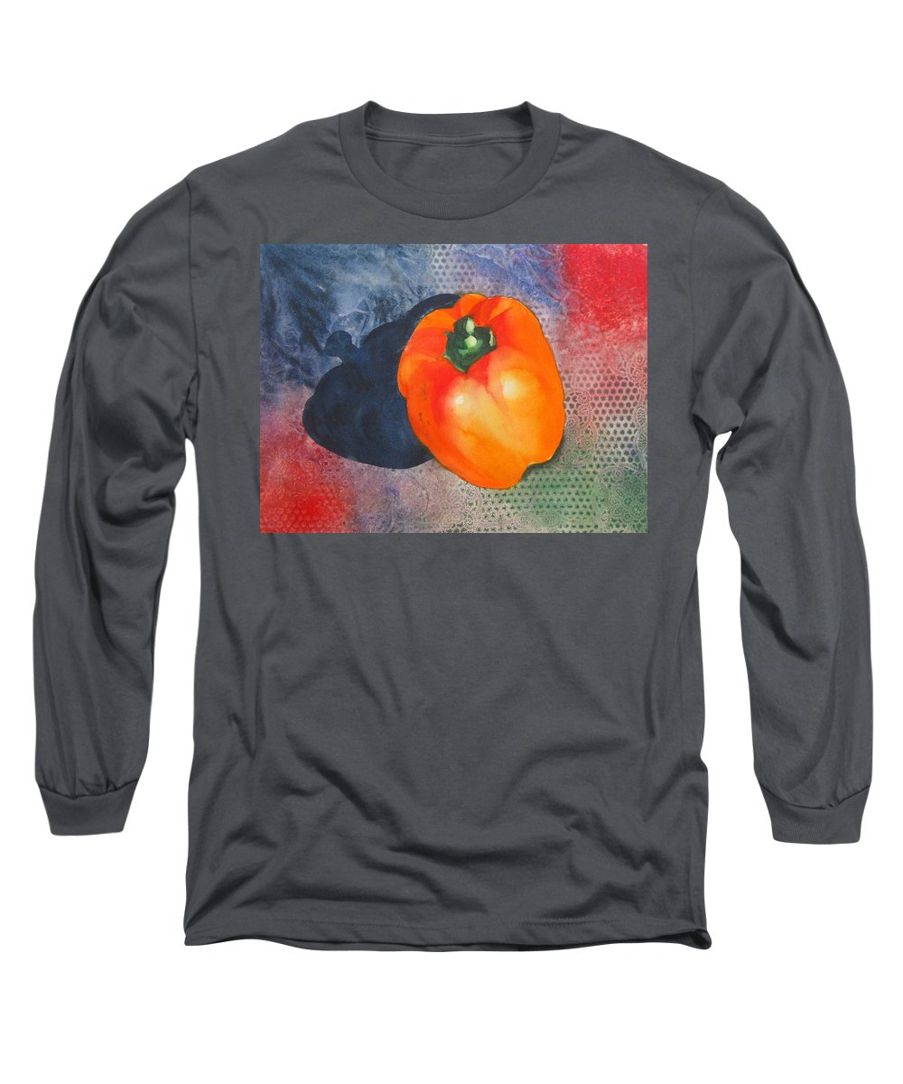 Pepper Long Sleeve T-Shirt featuring the painting Red Pepper Solo by Jean Blackmer