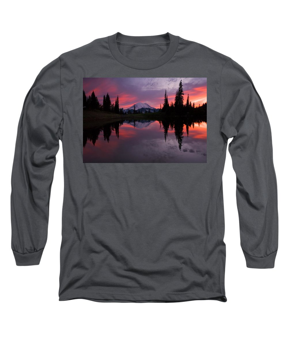 Rainier Long Sleeve T-Shirt featuring the photograph Red Sky At Night by Mike Dawson