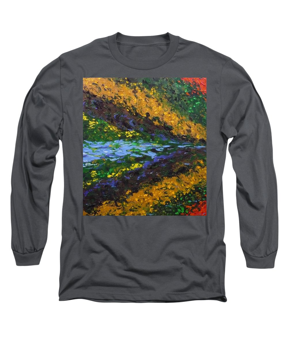 Landscape Long Sleeve T-Shirt featuring the painting Reflection One by Ericka Herazo