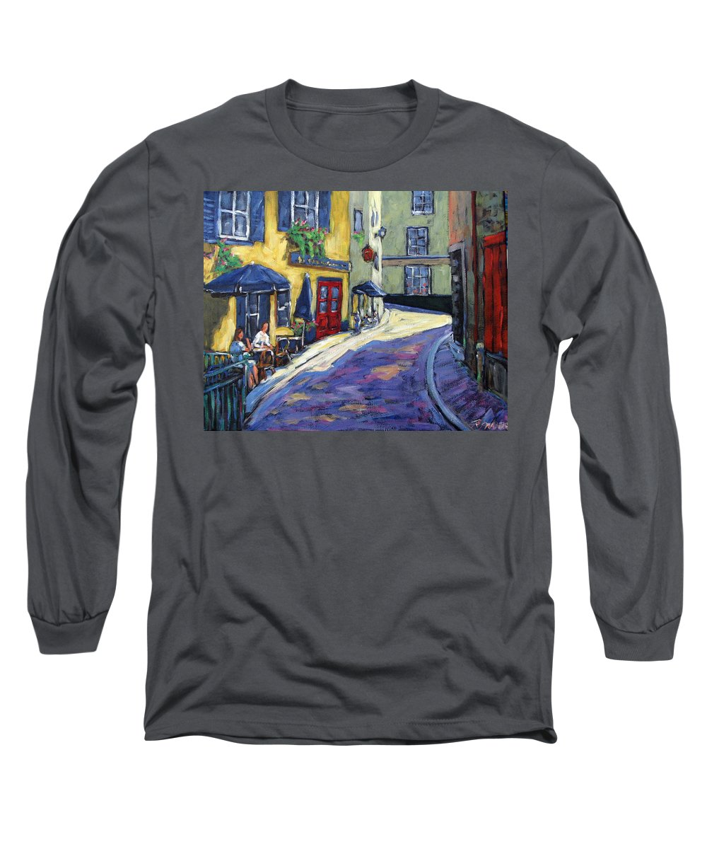 Restaurant Long Sleeve T-Shirt featuring the painting Resto Le Cochon Dingue In Old Quebec by Richard T Pranke
