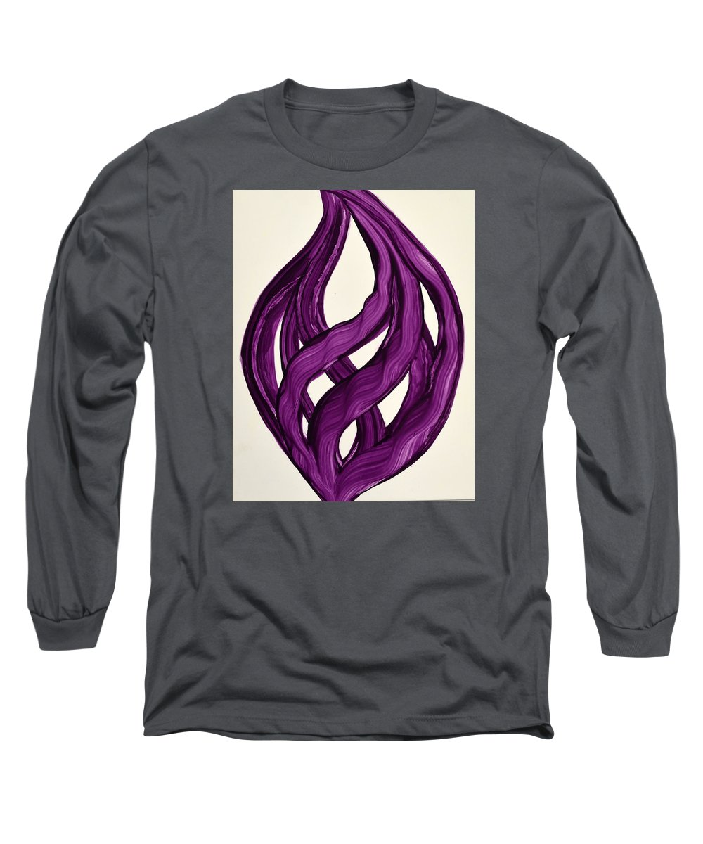 Abstract Art Yupo Comtemporary Modern Pop Romantic Vibrant Long Sleeve T-Shirt featuring the painting Ribbons Of Love-violet by Manjiri Kanvinde