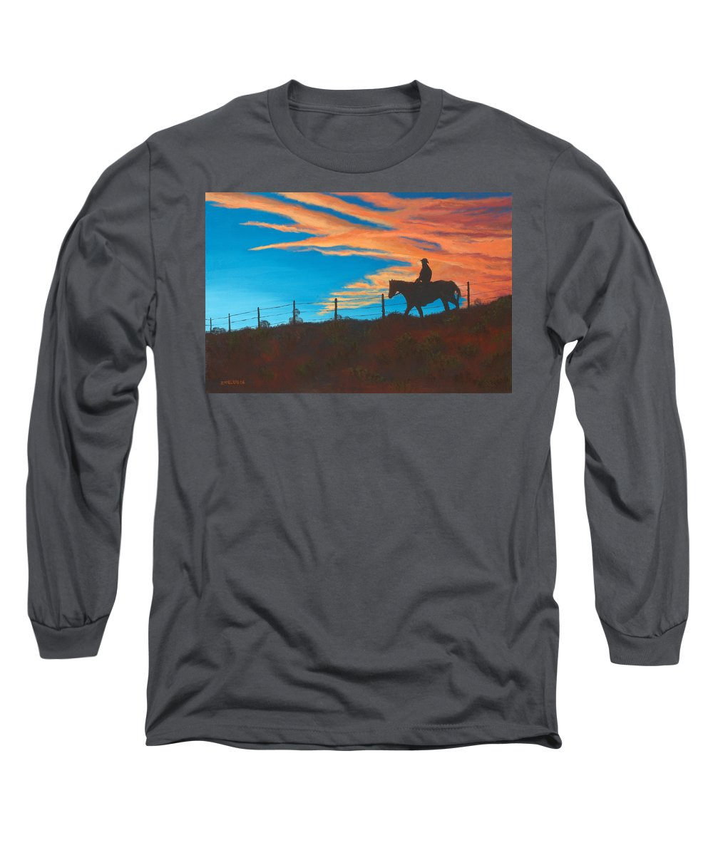Cowboy Long Sleeve T-Shirt featuring the painting Riding Fence by Jerry McElroy