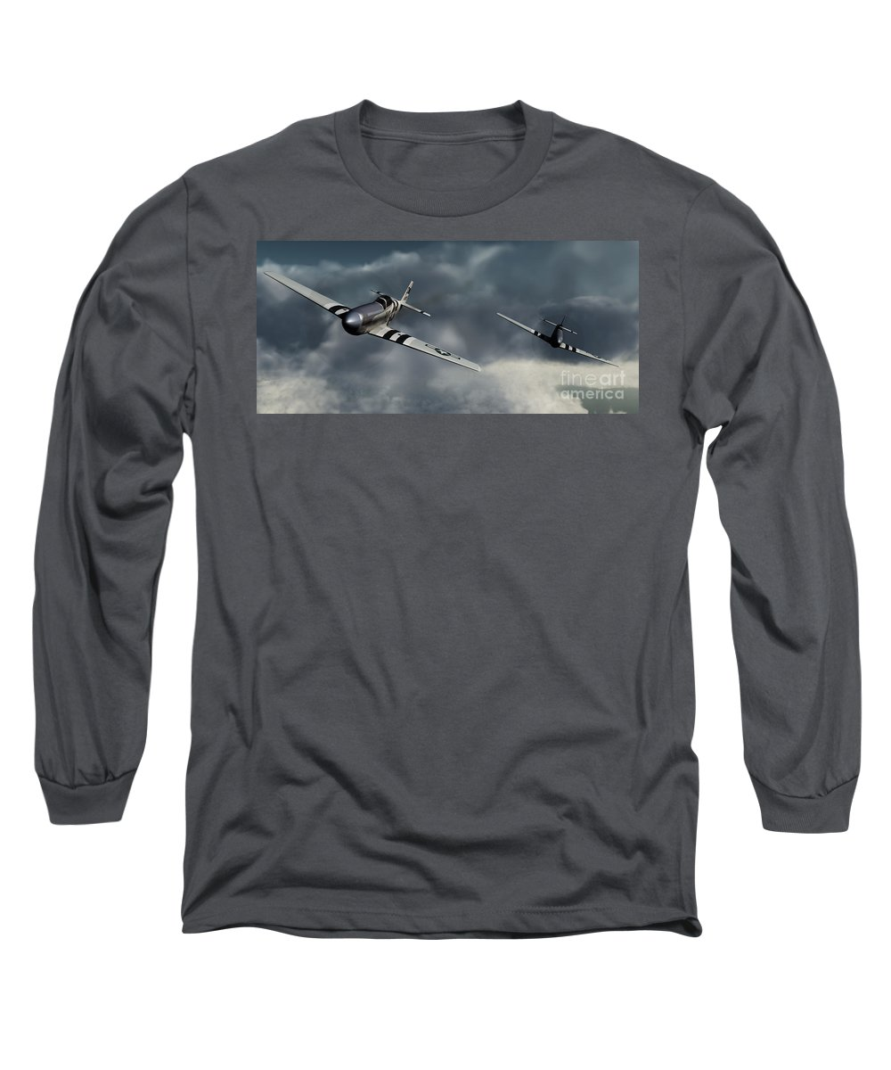 Warbirds Long Sleeve T-Shirt featuring the digital art Riding The Storm by Richard Rizzo