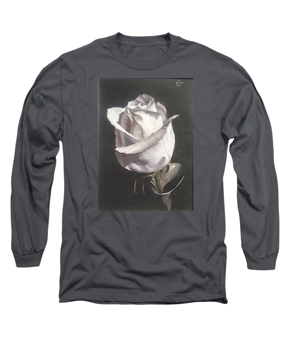Rose Floral Nature White Flower Long Sleeve T-Shirt featuring the painting Rose 2 by Natalia Tejera