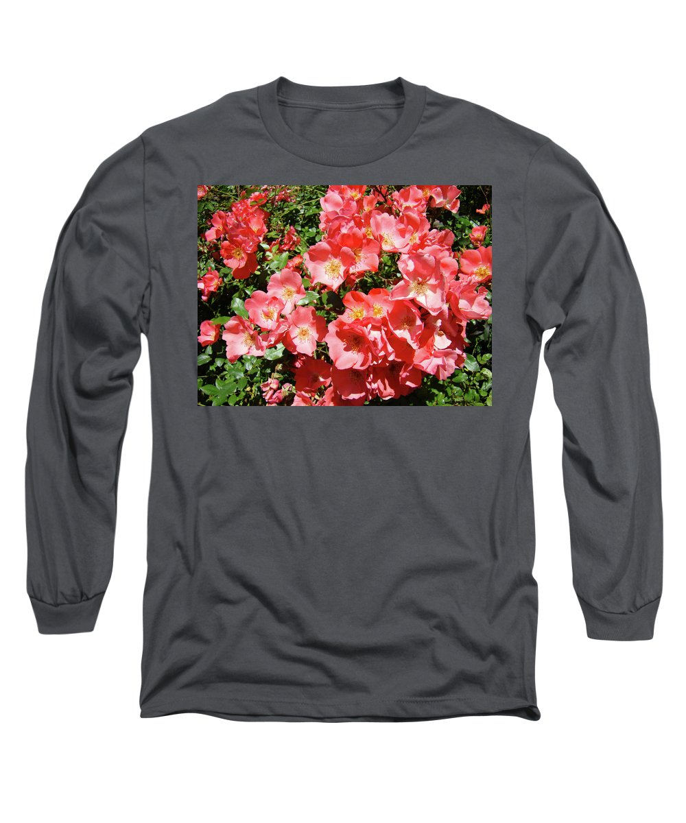 Rose Long Sleeve T-Shirt featuring the photograph Rose Garden Pink Roses Botanical Landscape Baslee Troutman by Baslee Troutman