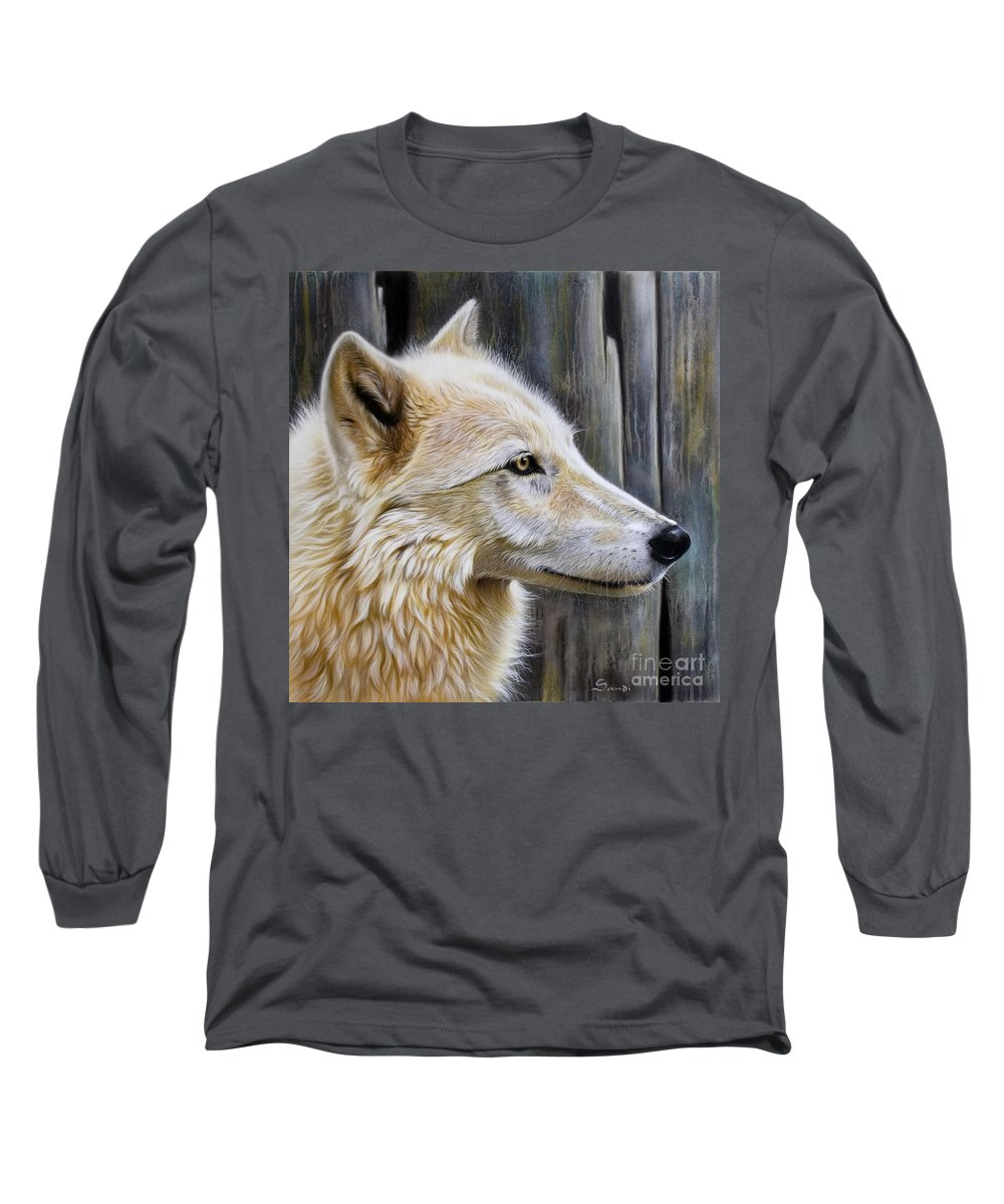 Wolves Long Sleeve T-Shirt featuring the painting Rose by Sandi Baker