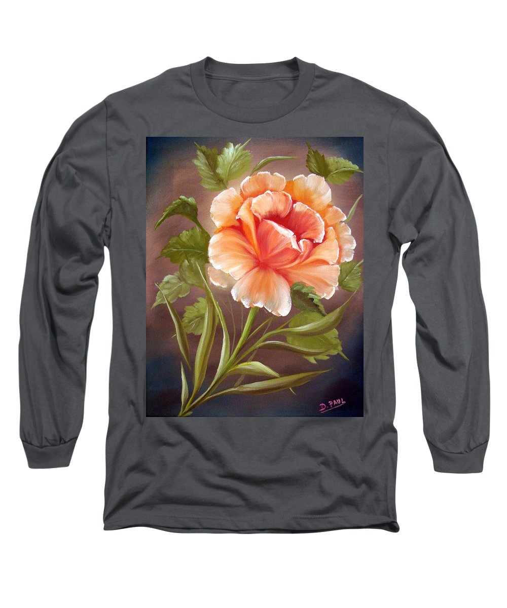 Rose Long Sleeve T-Shirt featuring the painting Rose Tropicana by David G Paul
