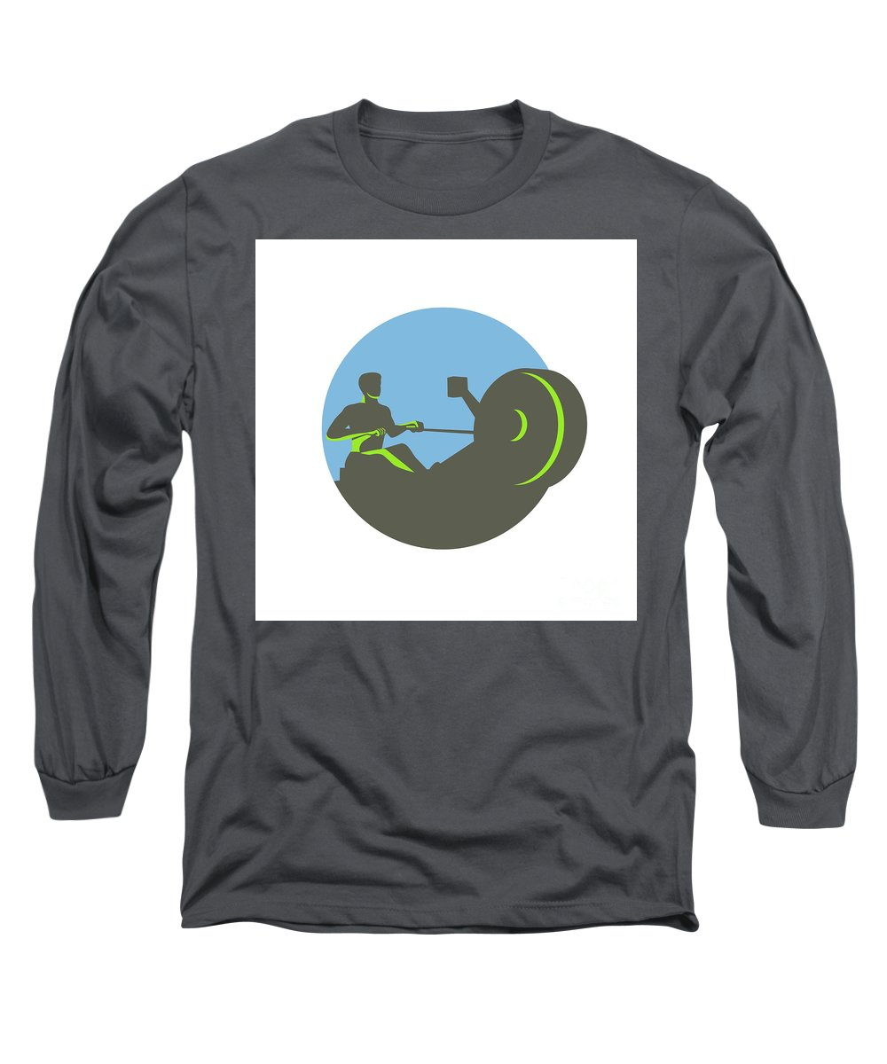 Rowing Long Sleeve T-Shirt featuring the digital art Rower Rowing Machine Circle Retro by Aloysius Patrimonio