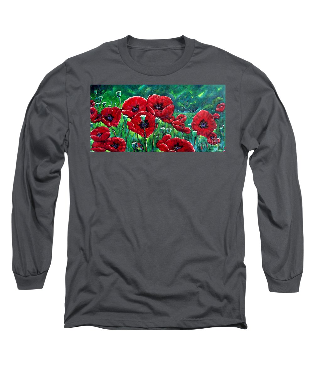 Forest Long Sleeve T-Shirt featuring the painting Rubies In The Emerald Forest by Richard T Pranke
