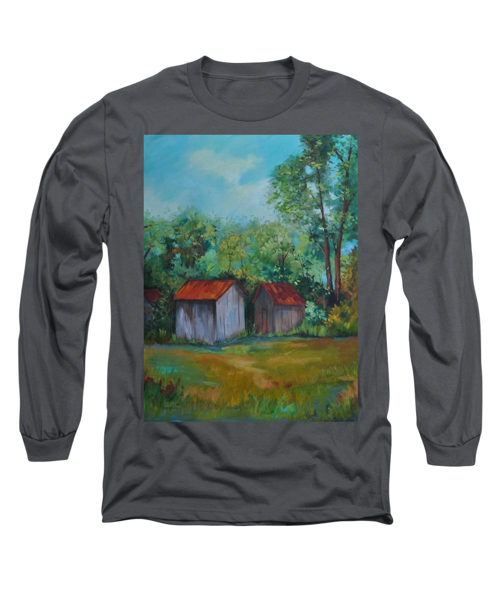 Outbuildings Long Sleeve T-Shirt featuring the painting Rural Architecture by Ginger Concepcion