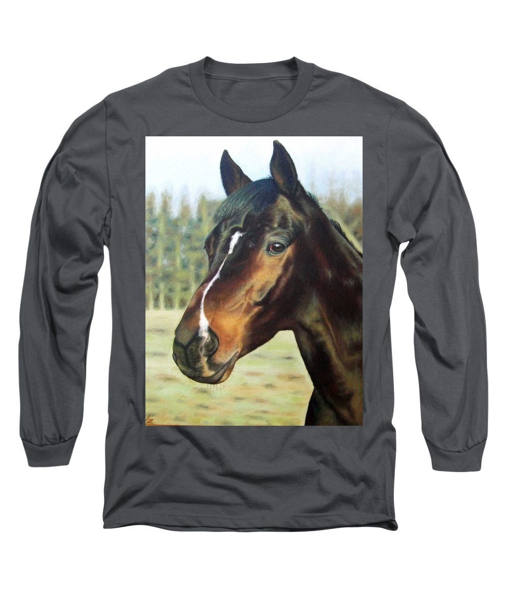 Horse Long Sleeve T-Shirt featuring the painting Russian Horse by Nicole Zeug