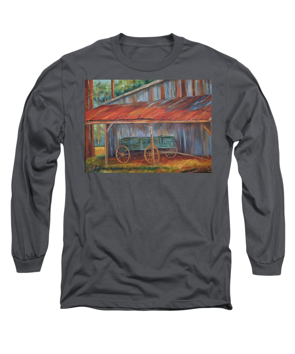 Old Wagons Long Sleeve T-Shirt featuring the painting Rustification by Ginger Concepcion