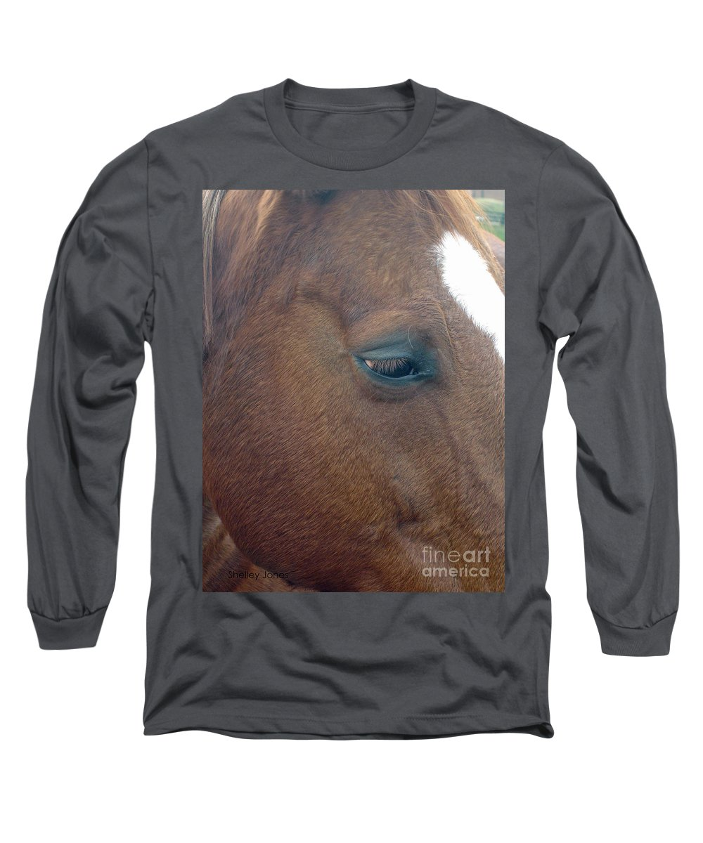 Horse Long Sleeve T-Shirt featuring the photograph Sad Eyed by Shelley Jones
