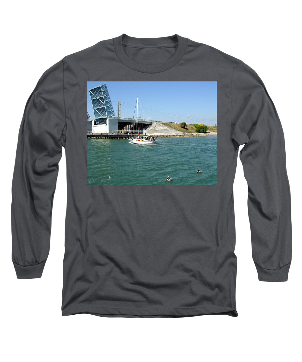 Port; Canaveral; Locks; Sail; Boat; Pelicans; Sailboat Drawbridge; Sailboat; Indian River; Indian; I Long Sleeve T-Shirt featuring the photograph Sailing In Port Canaveral Florida by Allan Hughes