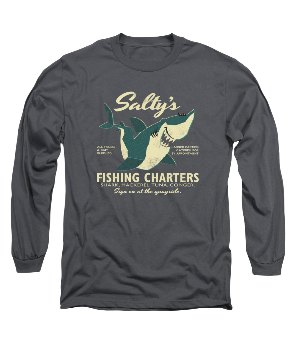 Fish Long Sleeve T-Shirt featuring the drawing Salty's Fishing Charters by Daviz Industries
