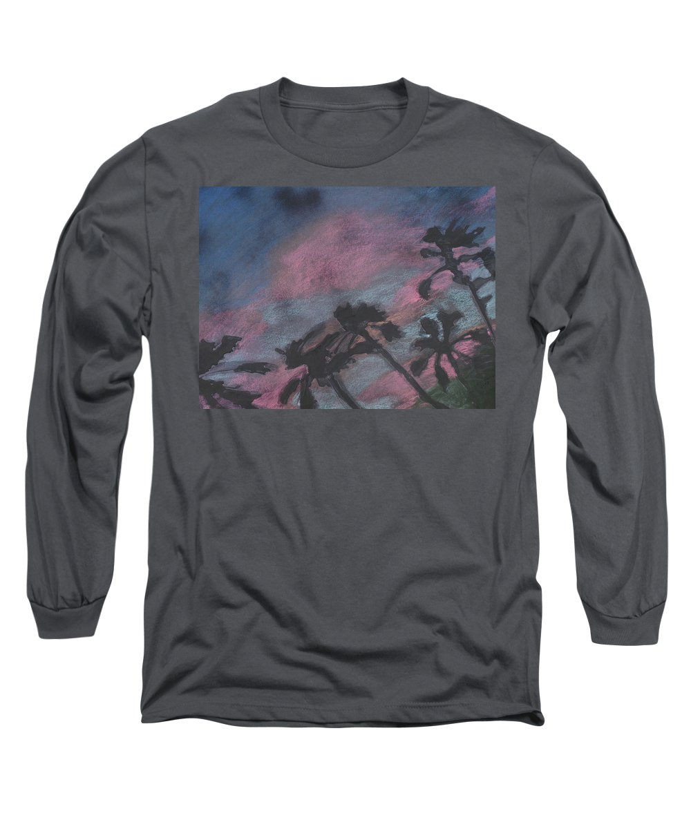 Contemporary Tree Landscapes Long Sleeve T-Shirt featuring the drawing San Diego Palms by Leah Tomaino