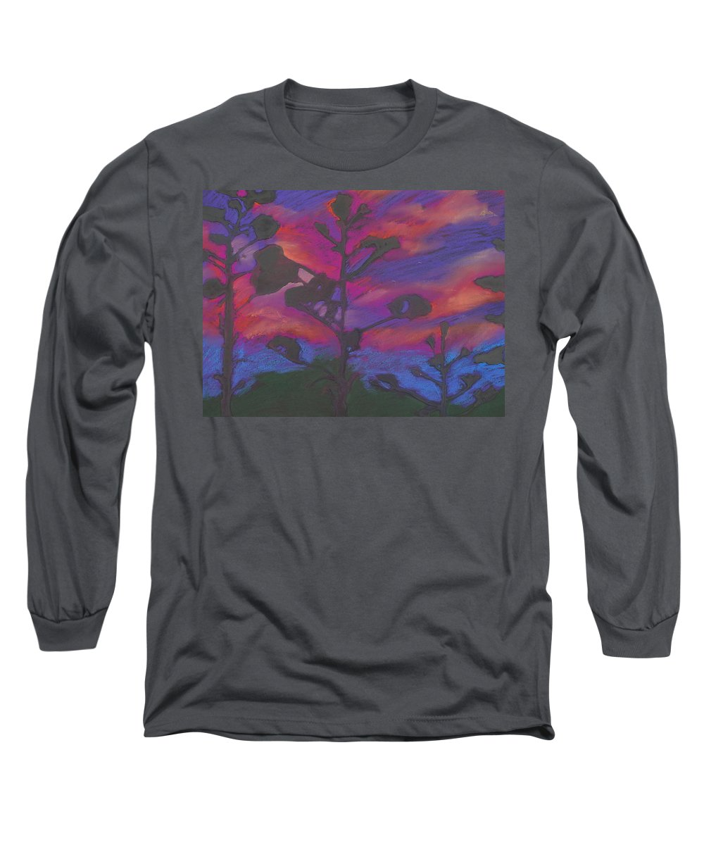 Contemporary Tree Landscape Long Sleeve T-Shirt featuring the mixed media San Diego Sunset by Leah Tomaino