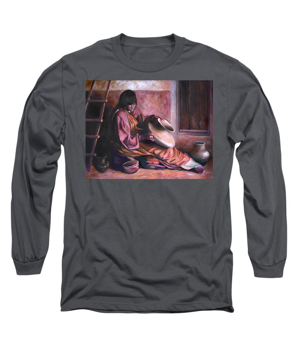 Native American Long Sleeve T-Shirt featuring the painting Santa Clara Potter by Nancy Griswold