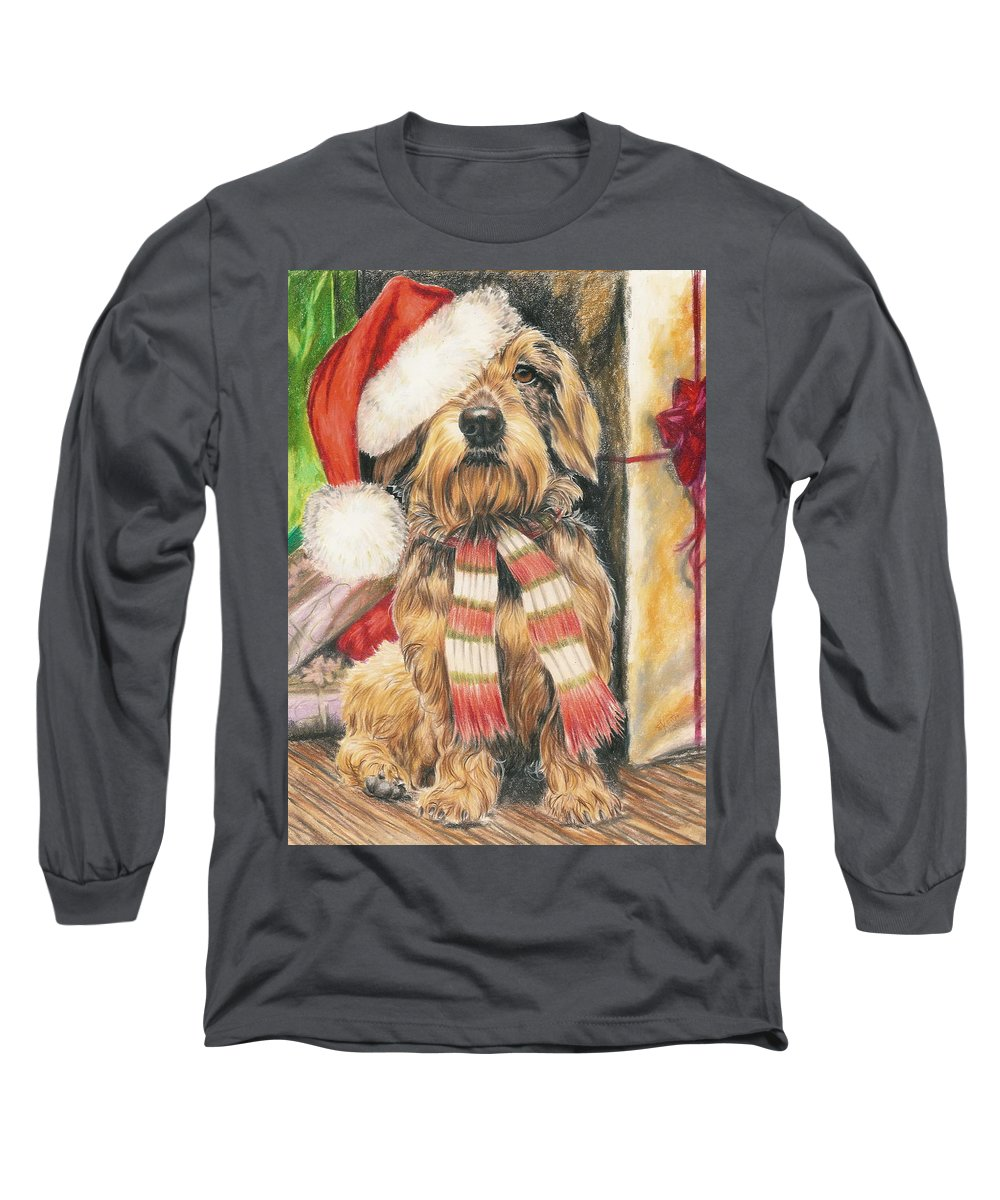 Hound Group Long Sleeve T-Shirt featuring the drawing Santas Little Yelper by Barbara Keith