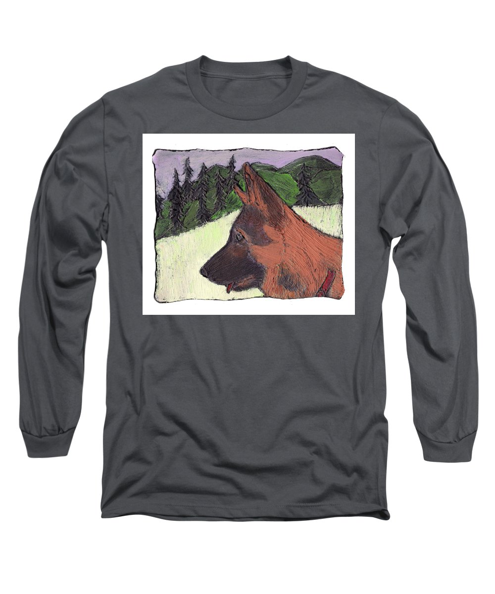 Dog Long Sleeve T-Shirt featuring the painting Sarge by Wayne Potrafka
