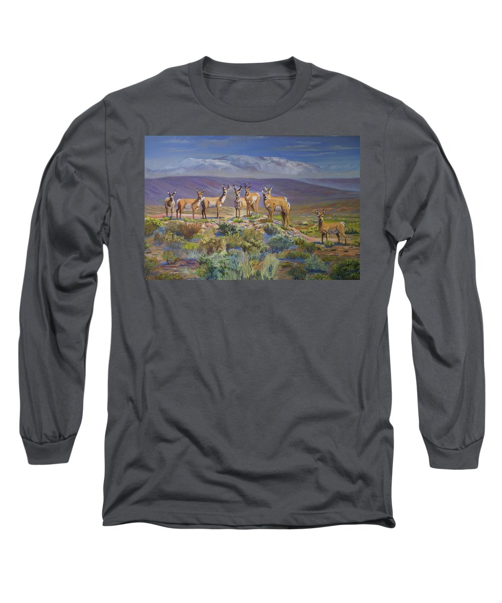 Antelope Long Sleeve T-Shirt featuring the painting Say Cheese Antelope by Heather Coen