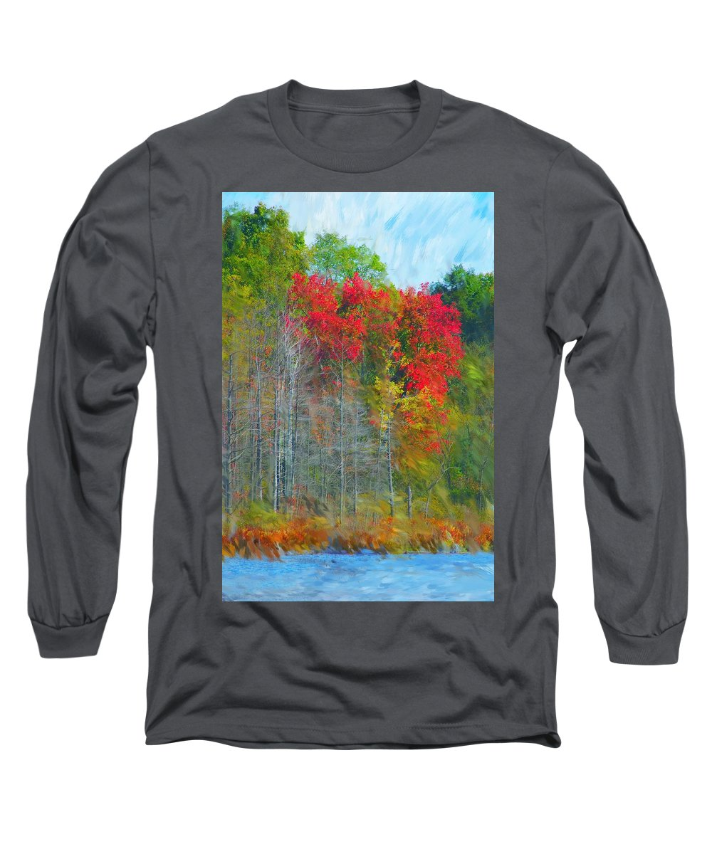 Landscape Long Sleeve T-Shirt featuring the digital art Scarlet Autumn Burst by David Lane